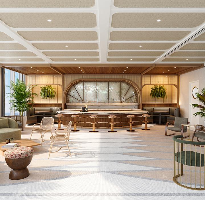 elegant bar area with plenty of seating